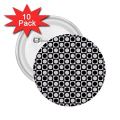 Modern Dots In Squares Mosaic Black White 2 25  Buttons (10 Pack)  by EDDArt