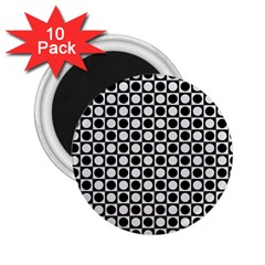 Modern Dots In Squares Mosaic Black White 2 25  Magnets (10 Pack)  by EDDArt