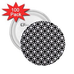 Modern Dots In Squares Mosaic Black White 2 25  Buttons (100 Pack)  by EDDArt