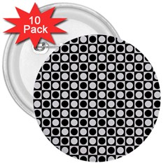 Modern Dots In Squares Mosaic Black White 3  Buttons (10 Pack)  by EDDArt