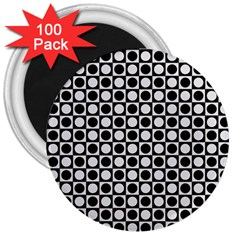 Modern Dots In Squares Mosaic Black White 3  Magnets (100 Pack) by EDDArt