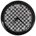 Modern Dots In Squares Mosaic Black White Wall Clocks (Black)