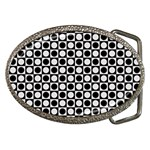 Modern Dots In Squares Mosaic Black White Belt Buckles