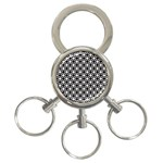 Modern Dots In Squares Mosaic Black White 3-Ring Key Chains