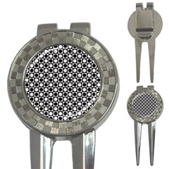 Modern Dots In Squares Mosaic Black White 3 In 1 Golf Divots by EDDArt