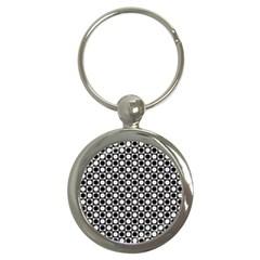 Modern Dots In Squares Mosaic Black White Key Chains (round)  by EDDArt