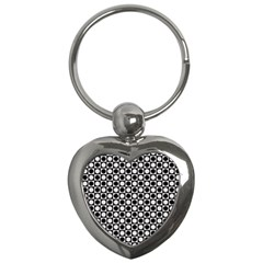 Modern Dots In Squares Mosaic Black White Key Chains (heart)  by EDDArt