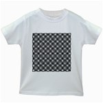 Modern Dots In Squares Mosaic Black White Kids White T-Shirts