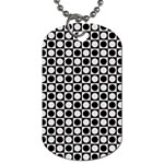 Modern Dots In Squares Mosaic Black White Dog Tag (One Side)