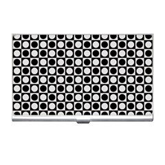 Modern Dots In Squares Mosaic Black White Business Card Holders by EDDArt