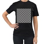 Modern Dots In Squares Mosaic Black White Women s T-Shirt (Black) (Two Sided)