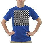 Modern Dots In Squares Mosaic Black White Dark T-Shirt