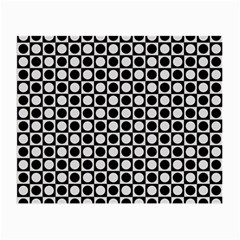 Modern Dots In Squares Mosaic Black White Small Glasses Cloth by EDDArt