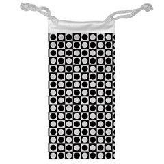Modern Dots In Squares Mosaic Black White Jewelry Bags by EDDArt