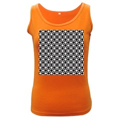 Modern Dots In Squares Mosaic Black White Women s Dark Tank Top by EDDArt