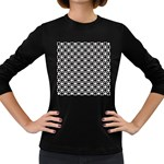 Modern Dots In Squares Mosaic Black White Women s Long Sleeve Dark T-Shirts