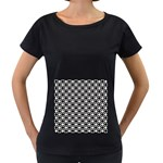 Modern Dots In Squares Mosaic Black White Women s Loose-Fit T-Shirt (Black)