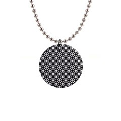 Modern Dots In Squares Mosaic Black White Button Necklaces by EDDArt