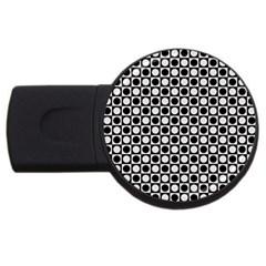 Modern Dots In Squares Mosaic Black White Usb Flash Drive Round (4 Gb)  by EDDArt