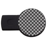 Modern Dots In Squares Mosaic Black White USB Flash Drive Round (4 GB)