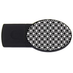Modern Dots In Squares Mosaic Black White Usb Flash Drive Oval (4 Gb)  by EDDArt