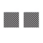 Modern Dots In Squares Mosaic Black White Cufflinks (Square)
