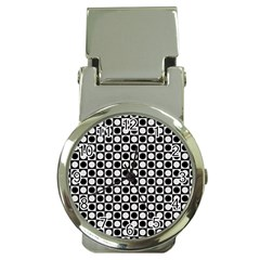 Modern Dots In Squares Mosaic Black White Money Clip Watches by EDDArt