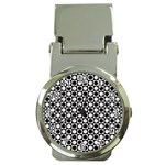 Modern Dots In Squares Mosaic Black White Money Clip Watches