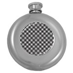 Modern Dots In Squares Mosaic Black White Round Hip Flask (5 oz)