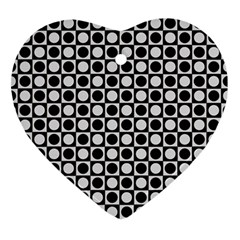 Modern Dots In Squares Mosaic Black White Heart Ornament (2 Sides) by EDDArt