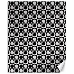 Modern Dots In Squares Mosaic Black White Canvas 16  X 20   by EDDArt