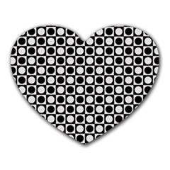 Modern Dots In Squares Mosaic Black White Heart Mousepads by EDDArt