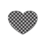 Modern Dots In Squares Mosaic Black White Rubber Coaster (Heart)
