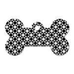 Modern Dots In Squares Mosaic Black White Dog Tag Bone (One Side)