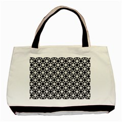 Modern Dots In Squares Mosaic Black White Basic Tote Bag (two Sides) by EDDArt