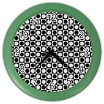 Modern Dots In Squares Mosaic Black White Color Wall Clocks