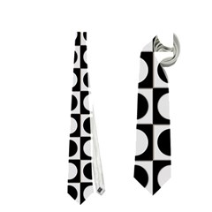 Modern Dots In Squares Mosaic Black White Neckties (two Side)  by EDDArt