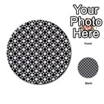 Modern Dots In Squares Mosaic Black White Multi-purpose Cards (Round)