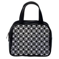 Modern Dots In Squares Mosaic Black White Classic Handbags (one Side) by EDDArt