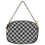 Modern Dots In Squares Mosaic Black White Chain Purses (Two Sides)