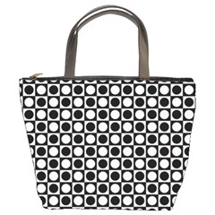 Modern Dots In Squares Mosaic Black White Bucket Bags by EDDArt