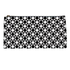 Modern Dots In Squares Mosaic Black White Pencil Cases by EDDArt