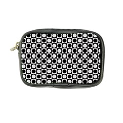 Modern Dots In Squares Mosaic Black White Coin Purse by EDDArt