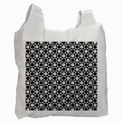 Modern Dots In Squares Mosaic Black White Recycle Bag (one Side) by EDDArt