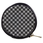 Modern Dots In Squares Mosaic Black White Mini Makeup Bags