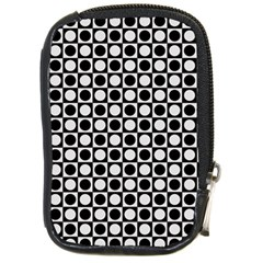Modern Dots In Squares Mosaic Black White Compact Camera Cases by EDDArt