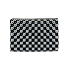 Modern Dots In Squares Mosaic Black White Cosmetic Bag (medium)  by EDDArt