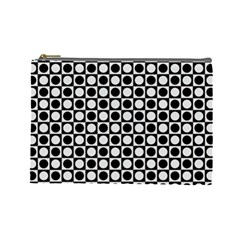 Modern Dots In Squares Mosaic Black White Cosmetic Bag (large)  by EDDArt