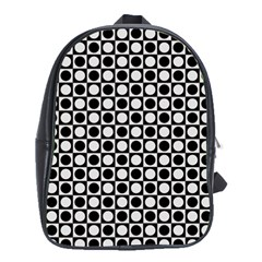 Modern Dots In Squares Mosaic Black White School Bags(large)  by EDDArt