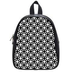 Modern Dots In Squares Mosaic Black White School Bags (small)  by EDDArt